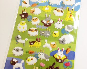 "Kawaii Korean Super Cute ""I Love Pet - Rabbit and Sheep Puffy Stickers - Perfect for scrapbooking, card-making, dairy, journaling, etc."