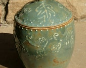 Sage Green Trinket Jar with oak leaf design - hand thrown stoneware pottery - muddywaterscc