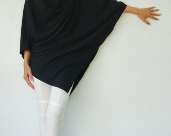 NO.63 Black Cotton Jersey  Asymmetrical Tunic Top