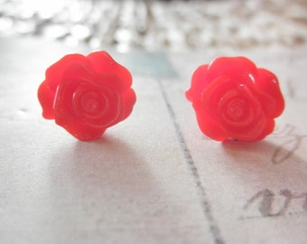 Red Rose Flower Post Stud Earrings