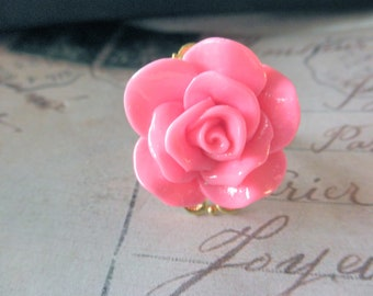 Vintage Look Raw Brass and Pink Rose Adjustable Ring