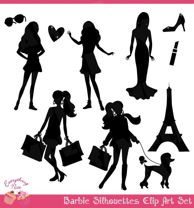 Barbie Black Silhouettes Clip Art Set by 1EverythingNice on Etsy