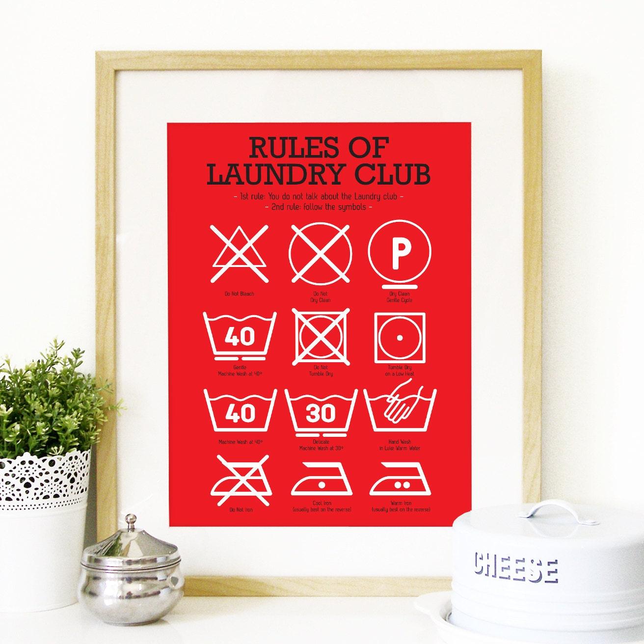 Kitchen Art Laundry Club Poster Art with laundry symbols Mid