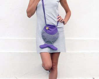 Hipster Geek Bag Fish Bag Purse CrossBody Bag Indie Fashion Psychedelic Purple Neon Bag Fun Bag For Kids Kawaii Wallet Sea Fish For Festival