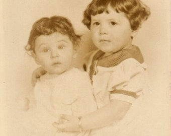 Vintage Sepia Photograph of Two Toddlers, Old Photo of Brother and Sister, Vintage 1940s Photo