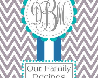 Personalized Cookbook Cover/ Monogrammed Notebook/ Binder Cover