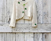 Don't Leaf Me Out In the Cold Cardigan upcycled sweater cream white present gift birthday Christmas