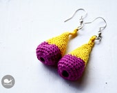 The Cocoon Earrings. Textile Crochet Earrings in Yellow and Fucsia