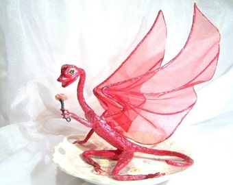 Fairy Dragon Rose, Flower Girl Dragon Art Doll in Dark Pink