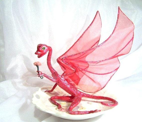 Fairy Dragon Rose, Flower Girl Dragon Art Doll