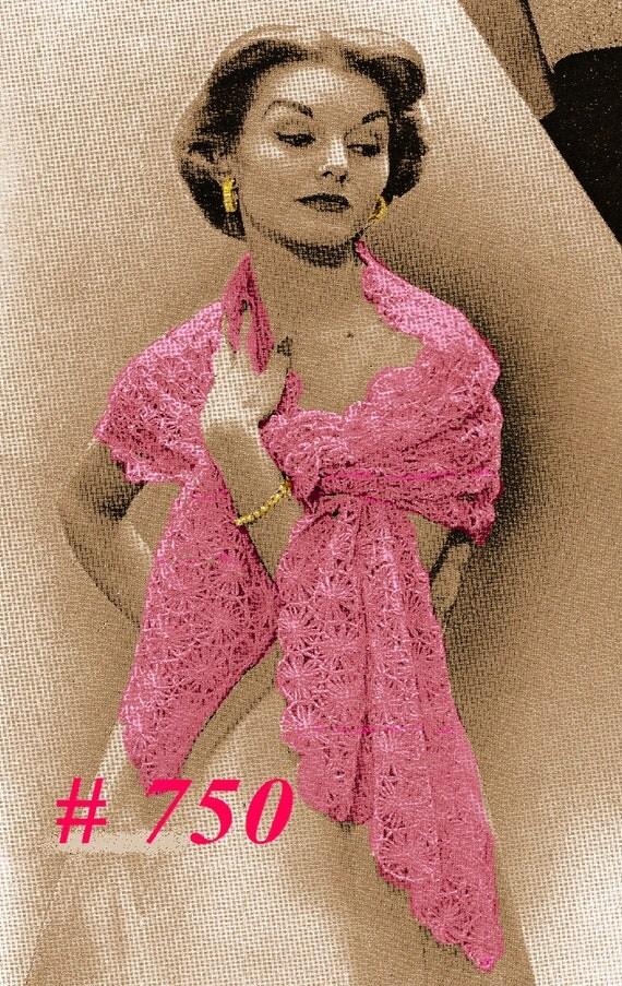 Vintage 1950s Fancy Lace Daisy Stole Wrap Shawl 750 PDF Digital Crochet Pattern