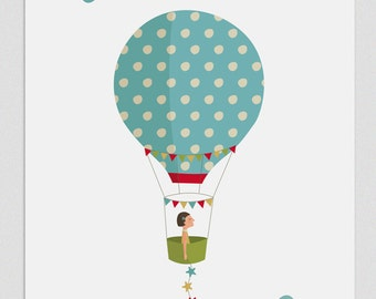 Illustration. Five weeks in a balloon (Girl). Print. Wall art. Art decor. Hanging wall Printed art Decor home Gift idea Bedroom. Sweet home.