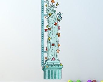 Growth Chart Inch: Statue of Birds' Liberty - Height Chart Wall Decal / Vinyl Sticker