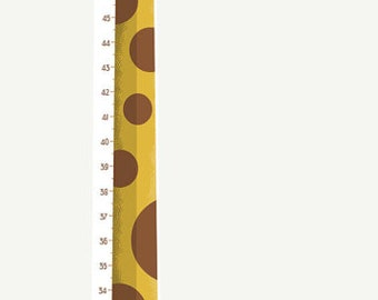 Yellow Giraffe Growth Chart for children's room (inch) - Kids room wall art. Height Chart wall decal, perfect gift for kids first birthday.
