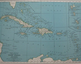 Vintage CARIBBEAN Map of the West Indies Map 1947 Map of the Caribbean Gift For Birthday Wedding Anniversary Gallery Wall Art 6505