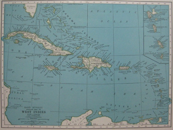Vintage CARIBBEAN Map 1940s UNUSUAL Colors Antique West Indies Map  From 1947 Atlas  Plaindealing 752
