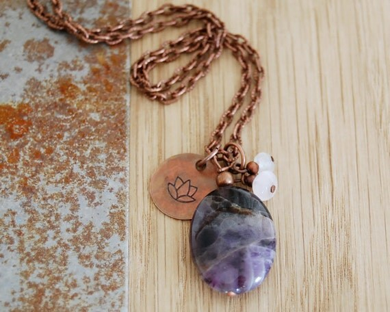 intuition and meditation - third eye chakra necklace - lotus yoga necklace -  amethyst pendant