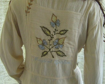 Magical garden triple goddess blouse light and airy fabric jacket with embroidered herbs