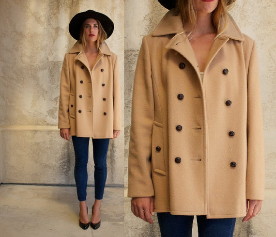 60s classic camel peacoat / wool double breasted peacoat //
