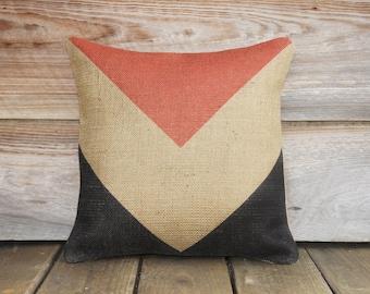 Chevron Pillow, Decorative Throw Pillow, Red Beige Black, Burlap Cushion, Accent Pillow