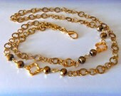 Gold Quatrefoil Chain Lanyard/Necklace