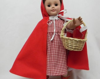 Little Red Riding Hood (Cape and Dress )With Basket for 18 inch doll like the American Girl.