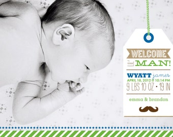 Baby Boy Birth Announcement - 5x7 Printable