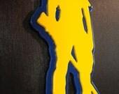 WVU Mountaineer Metal Car Art - Gold on Blue
