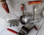 Instant Collection Vintage Red Handle Kitchen Utensils / Kitchenware / Rustic Cabin Decor / Prim Primitive Cottage / epsteam