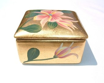 Lily Pad Hand Painted Gold Leaf Porcelain Trinket Box with Lid