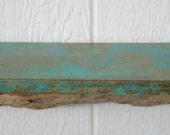 "12"" faux patina beach shelf - 1 foot long by 5.5 inches teal-aqua-turquoise driftwood shelf"