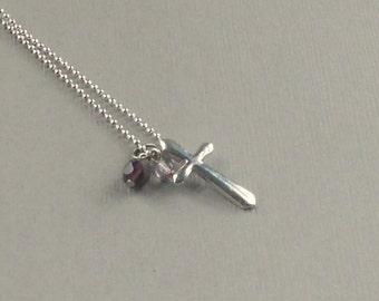 Silver Cross Necklace Floating Pendant Purple Lavender Beads Modern Christian Fashion Jewelry Feminine Gift Mom Grandmother Jewellery