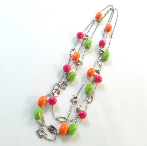 Bright Orange Lime Green Hot Pink Neon Necklace Set 3 Long 60s 70s Beaded Fashion Hippie Jewelry Beads Mix Match Free Shipping