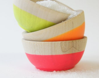 Cyber Monday Deal, 50% Off, Wooden Mini Bowl Set of 3: Neon Colors, Neon Pink, Neon Yellow, Neon Orange, Stocking Stuffers