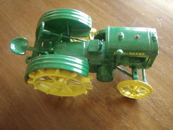 Vintage John Deere Tractor Toy Green Die Cast Metal