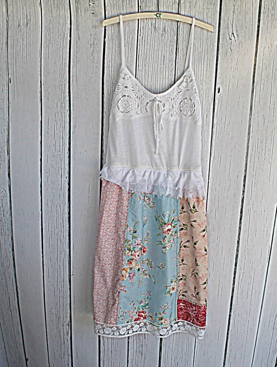 womens patchwork dress upcycled clothing shabby chic
