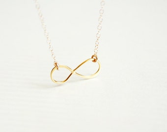 infinity necklace - gold filled dainty jewelry,  gift for her under 25 usd