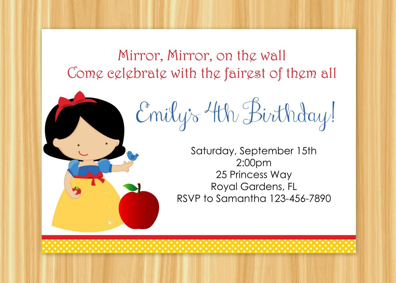 Snow White Invitation Snow White Birthday Party Snow White
