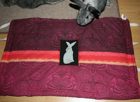 The Bun-velope - soft carrier liner for rabbits quilted purple and red paisley fabric
