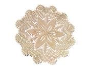 Round Ecru Crochet Doily 10 inches, Homedecor, Cottage Chic
