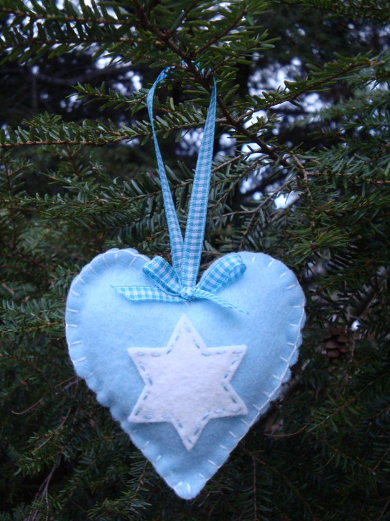 Star of David Heart Ornament
