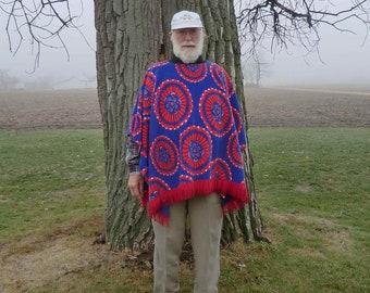 Clint Eastwood Style Poncho In Tie Dye Print Fleece Fringed Design