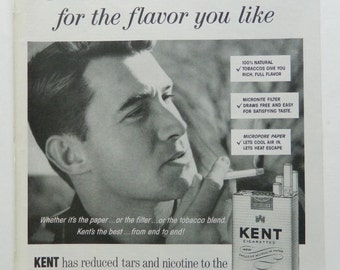 Vintage Kent Cigarette Ad -  Smoking Wall Art or Collectible Tobacco Ad