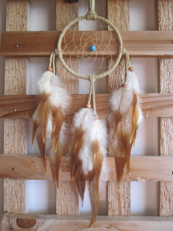 Dream Catcher Buckskin Suede with Rooster Saddle  Feathers