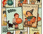 INSTANT DOWNLOAD, Halloween Digital Collage Sheet atc's, Retro Vintage Inspired Printables for Tags, Cards, Scrapbooking, Labels, aceo