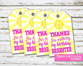 INSTANT DOWNLOAD - You Are My Sunshine -  Thank you/Favor Tags