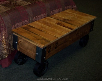 Customizable Industrial Bench or Coffee Table With Wheels - Reclaimed Wood Factory Cart