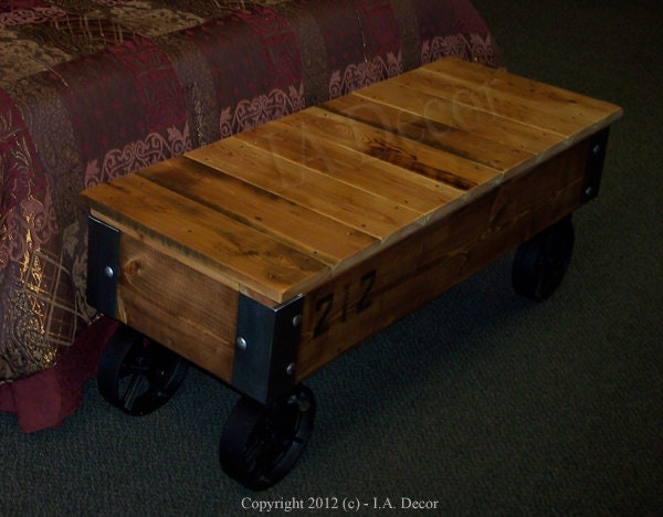 Customizable Industrial Bench Or Coffee Table With Wheels
