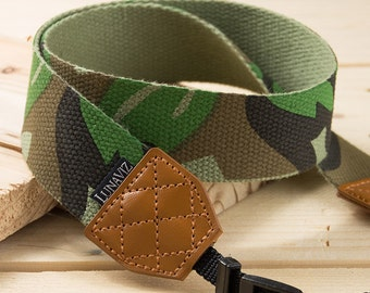 Camera Strap - Camouflage for DSLR and Mirrorless Camera in Green