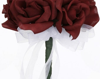 Burgundy Silk Rose Toss Bouquet - Bridal Wedding Bouquet